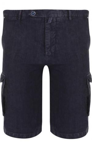 Льняные шорты с накладными карманами Kiton. Цвет: темно-синий