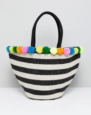 America & Beyond Монохромная фактурная пляжная сумка с отделкой из джута Beyo. Цвет: мульти