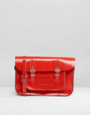 Leather Satchel Company Красная лакированная сумка 12,5. Цвет: красный