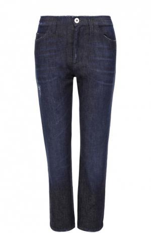 Укороченные джинсы прямого кроя с потертостями Dorothee Schumacher. Цвет: синий