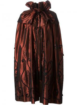 Пальто-кейп с вышивкой Guy Laroche Vintage. Цвет: красный