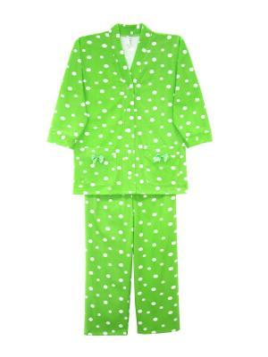 Пижама с начесом Тефия. Цвет: салатовый, белый