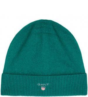 Зеленая шапка из шерсти Gant. Цвет: зеленый