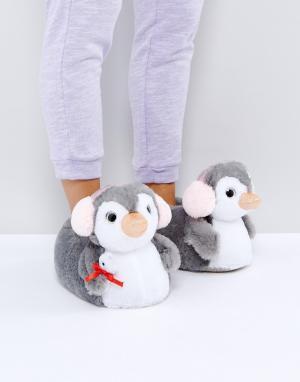 ASOS Тапочки с пингвинами NIPPY. Цвет: серый