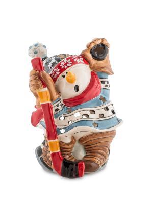 Подсвечник Снеговик-хоккеист (Pavone) Blue Sky. Цвет: белый, красный