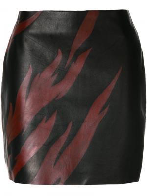 Мини-юбка с принтом пламени Saint Laurent. Цвет: коричневый