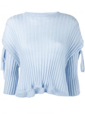 Свитер в рубчик с завязками на рукавах Helmut Lang. Цвет: синий