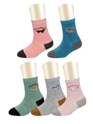 Носки, 5 пар Glamuriki. Цвет: синий, коралловый, серый