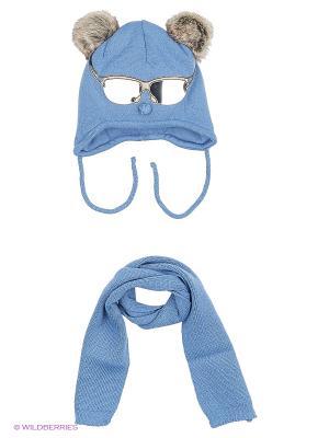 Шапка и шарф Ambra. Цвет: темно-синий