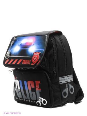 Ранец с мешком для обуви Grizzly. Цвет: черный, синий, красный