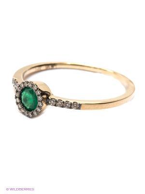 Кольцо JV ДЖЕЙ ВИ. Цвет: золотистый, зеленый