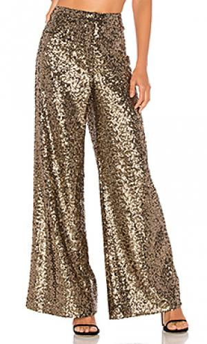 Широкие брюки sia MILLY. Цвет: металлический золотой