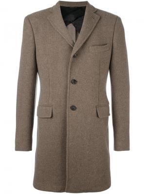Однобортное пальто Tonello. Цвет: коричневый