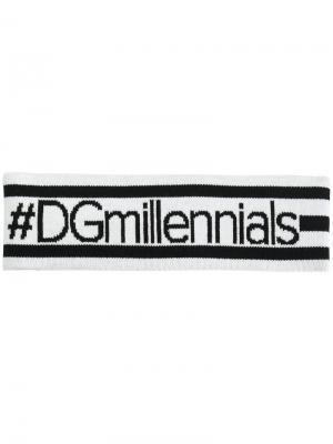 Повязка на голову #DGmillennials Dolce & Gabbana. Цвет: белый