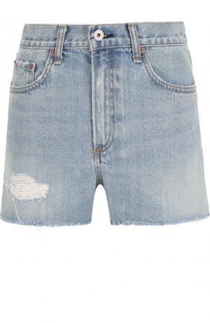 Джинсовые мини-шорты с завышенной талией и потертостями Rag&Bone. Цвет: голубой