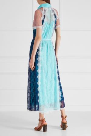 Гипюровое платье-рубашка LAROOM. Цвет: разноцветный