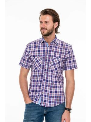 Рубашка Westrenger. Цвет: бордовый, белый, синий