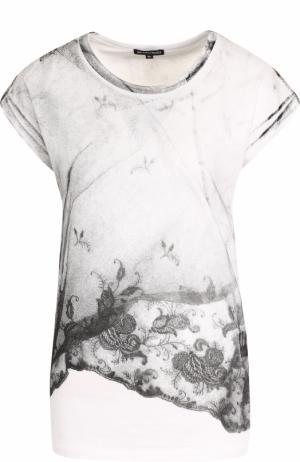 Хлопковая футболка с круглым вырезом и принтом Ann Demeulemeester. Цвет: белый