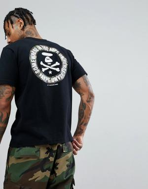 AAPE BY A BATHING APE Черная футболка с камуфляжным принтом на спине. Цвет: черный