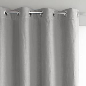 Штора из льна с металлическими люверсами Private AM.PM.. Цвет: серый