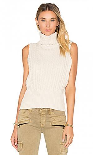 Укороченный свитер в рубчик без рукавов 525 america. Цвет: кремовый