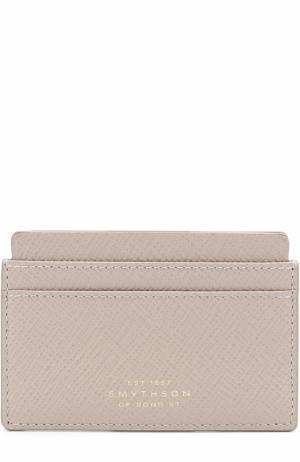 Кожаный футляр для кредитных карт Smythson. Цвет: серый