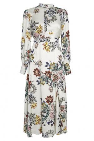 Шелковое платье с цветочным принтом Orlena Erdem. Цвет: белый