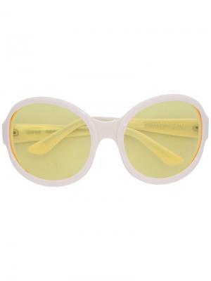 Солнцезащитные очки в круглой оправе Gosha Rubchinskiy. Цвет: белый