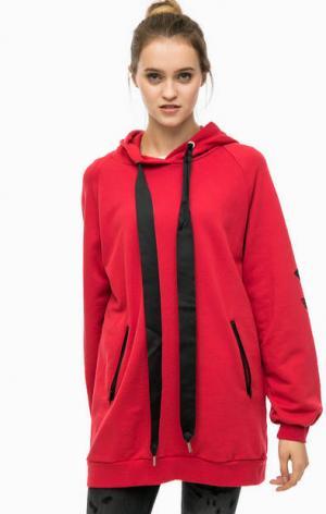 Платье-толстовка с капюшоном Happiness. Цвет: красный