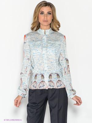 Рубашка ZARINA. Цвет: молочный, голубой