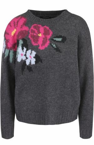 Шерстяной пуловер с цветочным принтом Tara Jarmon. Цвет: серый