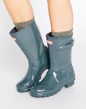 Hunter Короткие блестящие резиновые сапоги Original. Цвет: серый