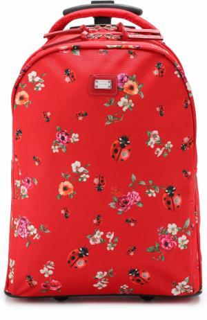Текстильный чемодан с принтом Dolce & Gabbana. Цвет: красный