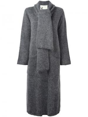 Кардиган-пальто с лацканами-шалька 8pm. Цвет: серый