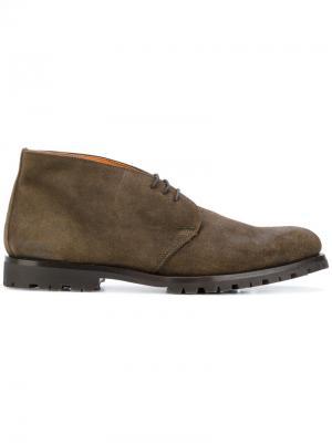 Ботинки-дезерты с контрастной подкладкой Andrea Ventura. Цвет: зелёный
