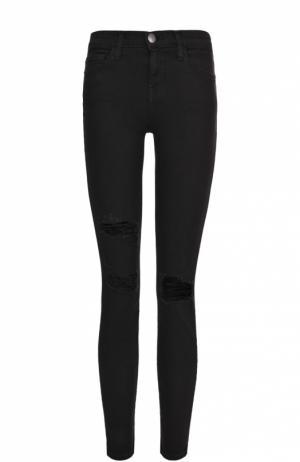 Укороченные джинсы-скинни с потертостями Current/Elliott. Цвет: черный