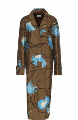 Пальто свободного кроя с цветочным принтом Dries Van Noten. Цвет: хаки