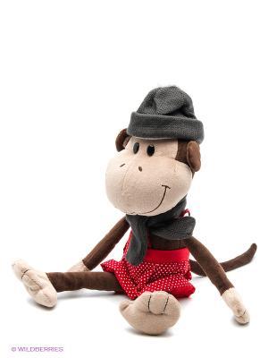 Обезьян Валек в шапке, 25 см MAXITOYS. Цвет: темно-коричневый, антрацитовый, бронзовый