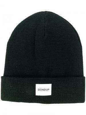 Трикотажная шапка с заплаткой логотипом Dondup. Цвет: чёрный