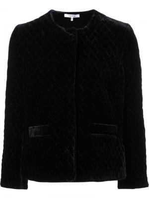 Укороченный пиджак с бархатным эффектом Ganni. Цвет: чёрный
