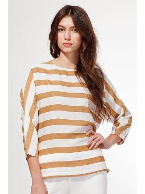 Блузка VILATTE. Цвет: белый, бежевый