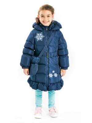 Пальто Алиса с сумочкой, пуховое Аксарт. Цвет: синий