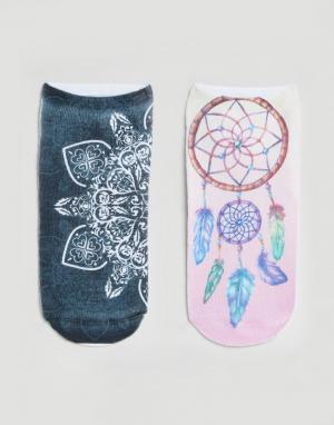 7X 2 пары носков с принтом. Цвет: мульти