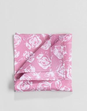 ASOS Розовый платок для нагрудного кармана с цветочным принтом Wedding. Цвет: розовый