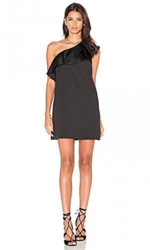 Атласное мини платье с рюшами Cynthia Rowley. Цвет: черный