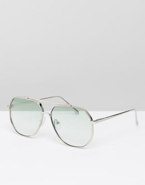ASOS Солнцезащитные очки-авиаторы в шестиугольной оправе со светло-зелеными. Цвет: серебряный