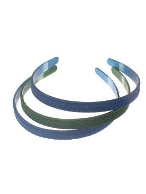 Ободки неломкие полоски 15 см, 3 шт, синий зеленый Радужки. Цвет: синий,зеленый