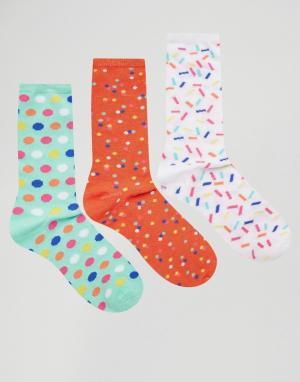Fruitcake Комплект из 3 пар носков с цветочным принтом. Цвет: мульти