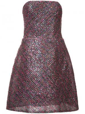 Платье с пайетками без бретелек Monique Lhuillier. Цвет: красный