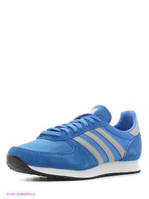 Кроссовки Zx Racer Adidas. Цвет: голубой, белый